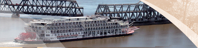 American Queen Paddleboat going through the Fort Madison Swingspan Bridge